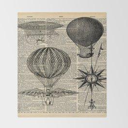 newspaper print victorian steampunk airship plane hot air balloon Throw Blanket