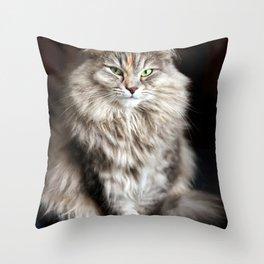 Siberian cat. Posing like a ballet dancer. Throw Pillow