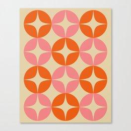 Mid Century Modern Pattern in Pink and Orange Canvas Print