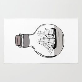 The ship in the glass bulb . Artwork Rug