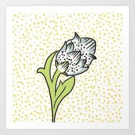 Vintage flower bud Art Print