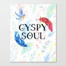 Gypsy Soul - Boho Watercolor Feathers Hippy Heart Canvas Print