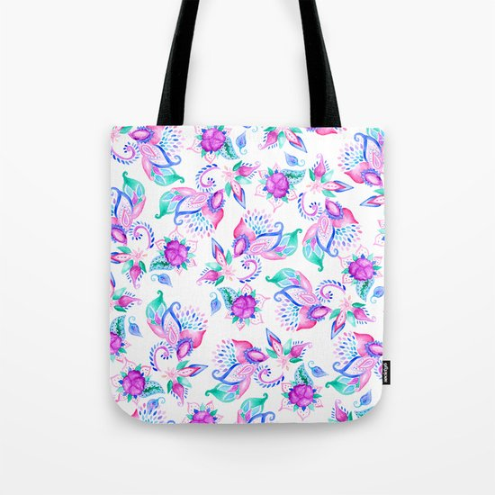 Modern pink turquoise hand painted floral paisley pattern illustration  Tote Bag