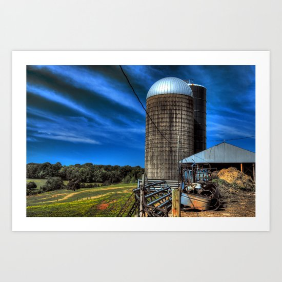 Barn and Silos Art Print