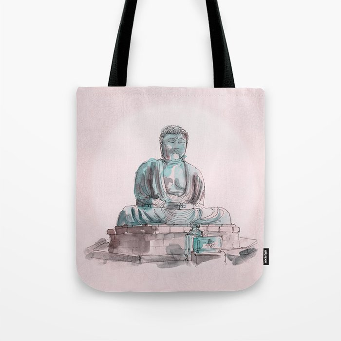 Peace and Harmony watercolor buddha pastel illustration Tote Bag