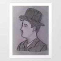 charlie chaplin Art Prints featuring Charlie Chaplin by Natasha Lake