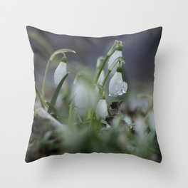 snow drop flowers with ice melting from them Throw Pillow