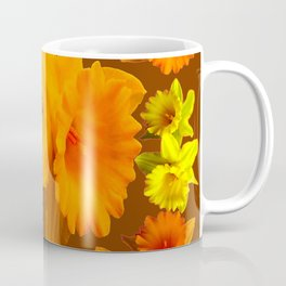 YELLOW SPRING DAFFODILS & COFFEE BROWN COLOR ART Coffee Mug