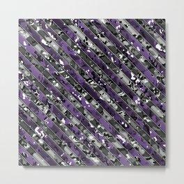 Purple and Grey Striped Multicamo Camo Metal Print