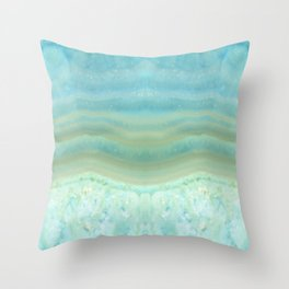 Turquoise Aquamarine Blue Gem Stone Agate Crystal Throw Pillow