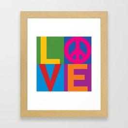 Love Peace Color Blocked Framed Art Print