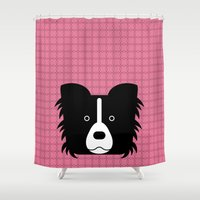 border collie Shower Curtains featuring Pop Dog Border Collie by lllg
