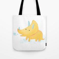 Yellow Triceratops Dinosaur Tote Bag