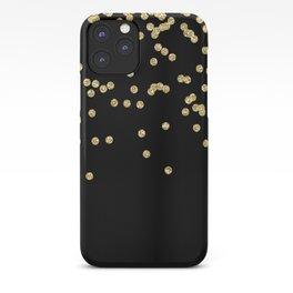 Sparkling gold glitter confetti on black - Luxury design iPhone Case