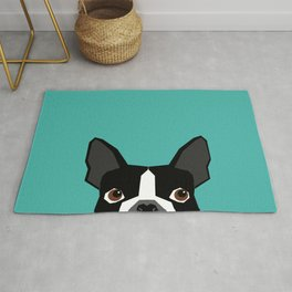 Boston Terrier head dog breed gifts cute pupper boston terriers must haves Rug