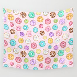 Scattered Rainbow Donuts on pale spotty pink - repeat pattern Wall Tapestry