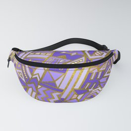 Gold and Rose Quartz Tribal Pattern on Purple Fanny Pack