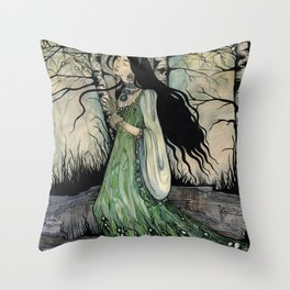 Malachite Maid Throw Pillow