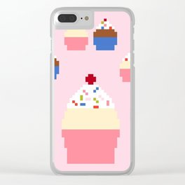 Pixel Cupcakes (Pink) Clear iPhone Case