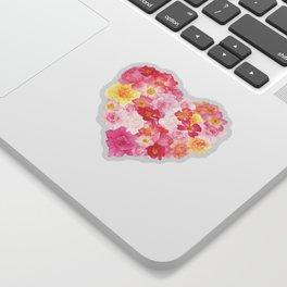 Watercolor Rose Heart Sticker