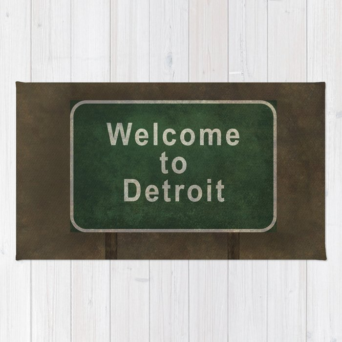 Welcome To Detroit Highway Road Side Sign Rug
