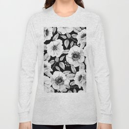FLORAL GARDEN WATERCOLOR B/W Long Sleeve T-shirt
