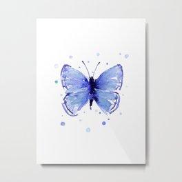 Dark Blue Butterfly Watercolor Metal Print
