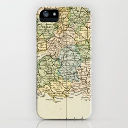 England and Wales Vintage Map iPhone Case