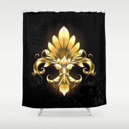 Golden Fleur de Lis Shower Curtain