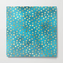 Beautiful Teal & Gold Dot Pattern Metal Print