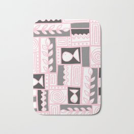 Fishes Seaweeds and Shells - Gray and Pink Bath Mat