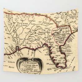 Vintage Map of Florida (1657) Wall Tapestry