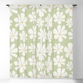 Floral Daisy Pattern - Green Blackout Curtain