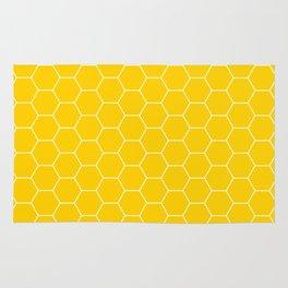 Honeycomb yellow and white pattern Rug