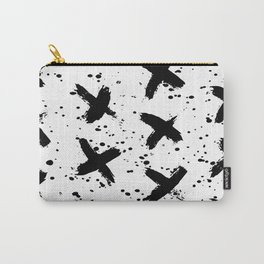 X Paint Spatter Black and White Carry-All Pouch