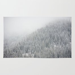 Snowy Pacific Northwest Forest Rug