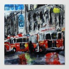 New York Fire Trucks Fine Art Acrylic Painting Canvas Print