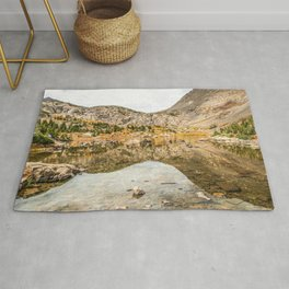 Crystal Clear Lake // Rustic Mountain Gray Sky and Autumn Colors Rug