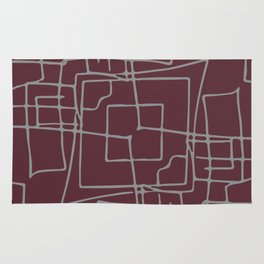 Decorative wine and grey abstract squares Rug