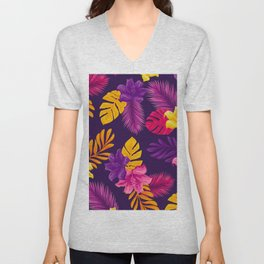 purple yellow leaves and flowers Unisex V-Neck