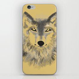 Wolf Face - Gold iPhone Skin