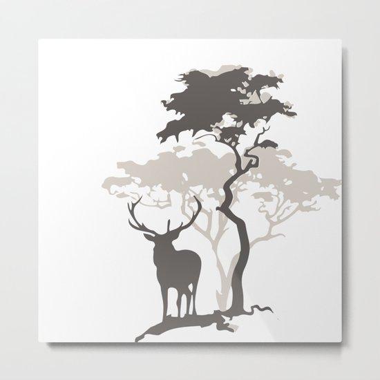 Deer Under Tree No. 1 Metal Print