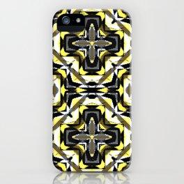 black yellow gray and white geometric iPhone Case