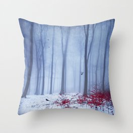 winter forest with birds Throw Pillow