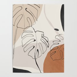 Minimal Abstract Art- Monstera Poster
