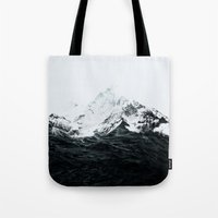 waves Tote Bags featuring Those waves were like mountains by Robert Farkas