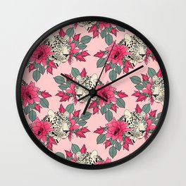 Classy cactus flowers and leopards design Wall Clock
