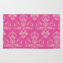 Pink Vintage Damask Rug