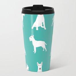 Bull Terrier white coat dog breed pet friendly dog gifts dog lover bull terriers Travel Mug