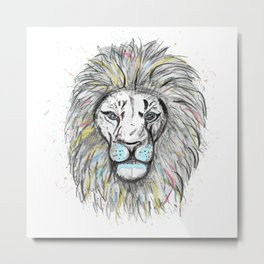 Cool hand drawn sketch and watercolor Lion design Metal Print